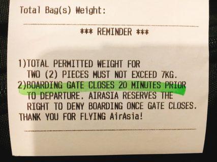 LCC エアアジアの持ち込み手荷物重量制限は7.9kgまで